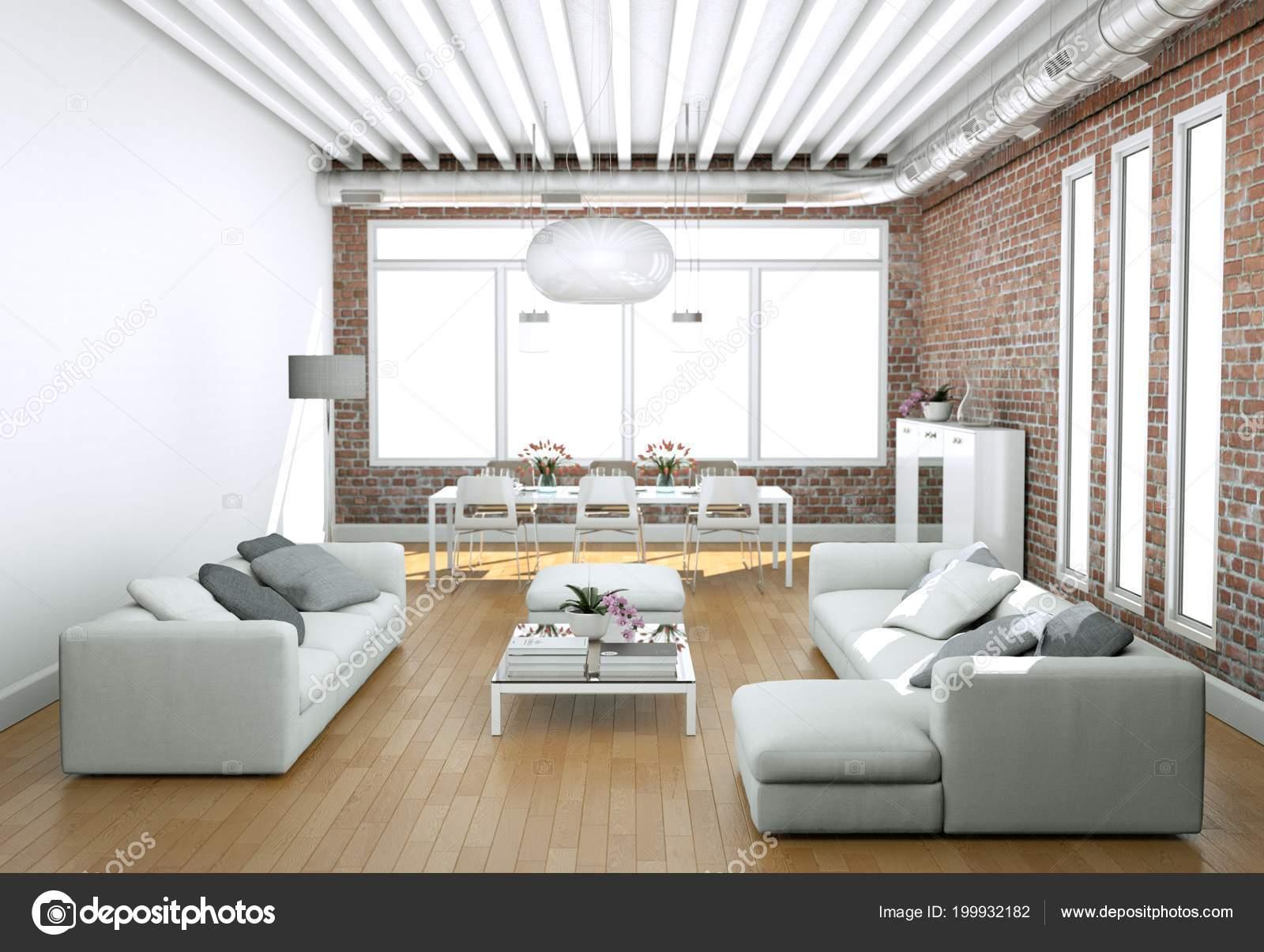 Moderne Helle Wohnzimmer Interior Design Mit Sofas Und Stonewall