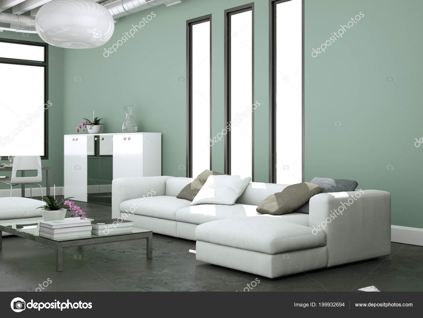 Dise o de interiores moderno luminoso living comedor con sof s y paredes grises foto de stock - Diseno de interiores paredes ...