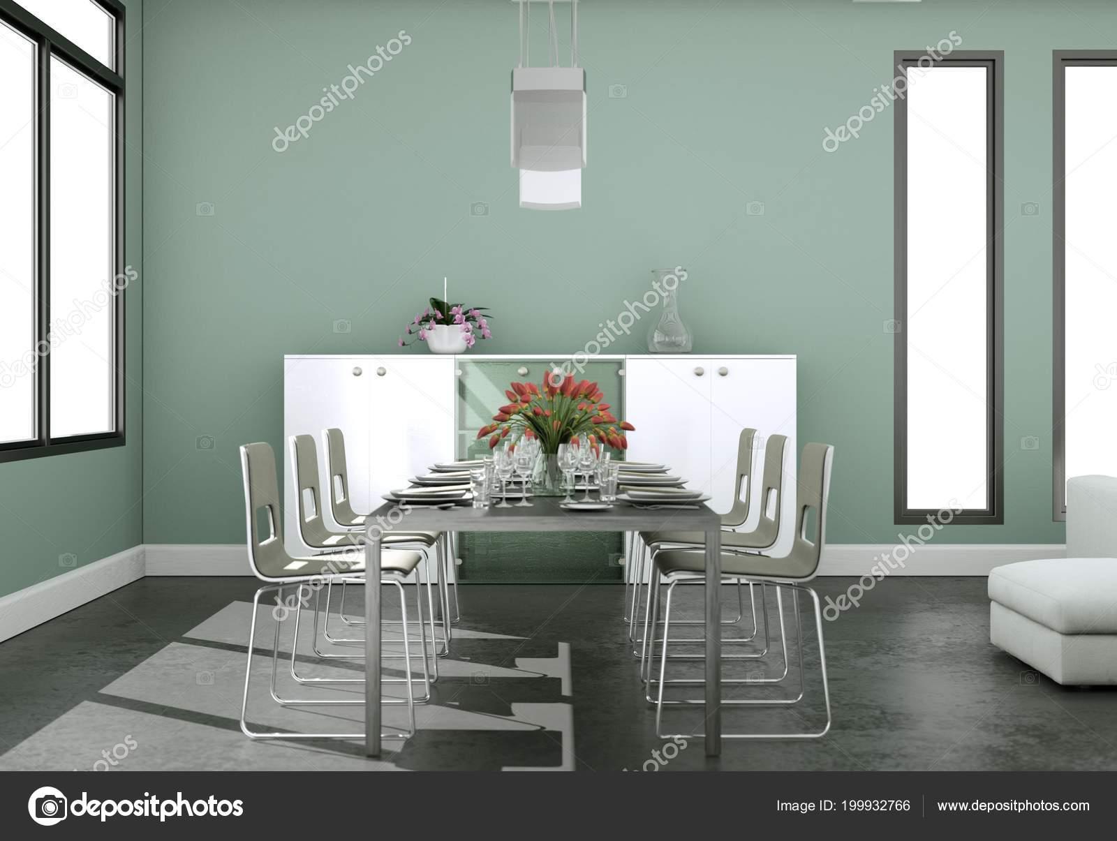Diseño de interiores sala comedor en loft moderno — Foto de stock ...