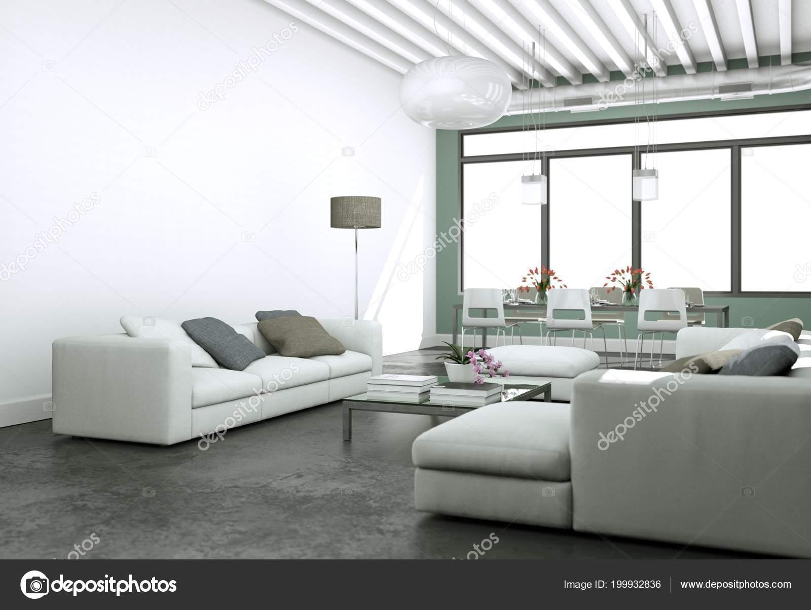Pareti Grigie E Rosse : Design moderno luminoso soggiorno con divani e pareti grigio