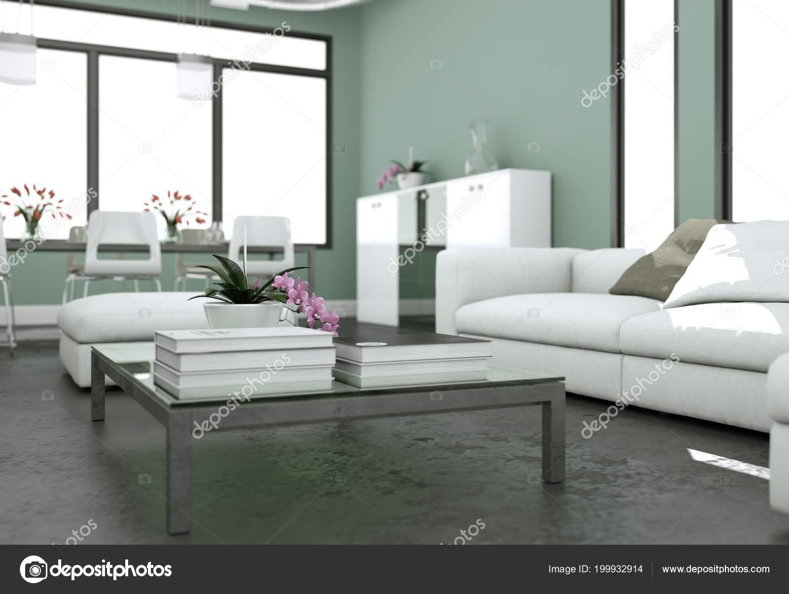 Diseño de interiores moderno luminoso living-comedor con sofás y ...