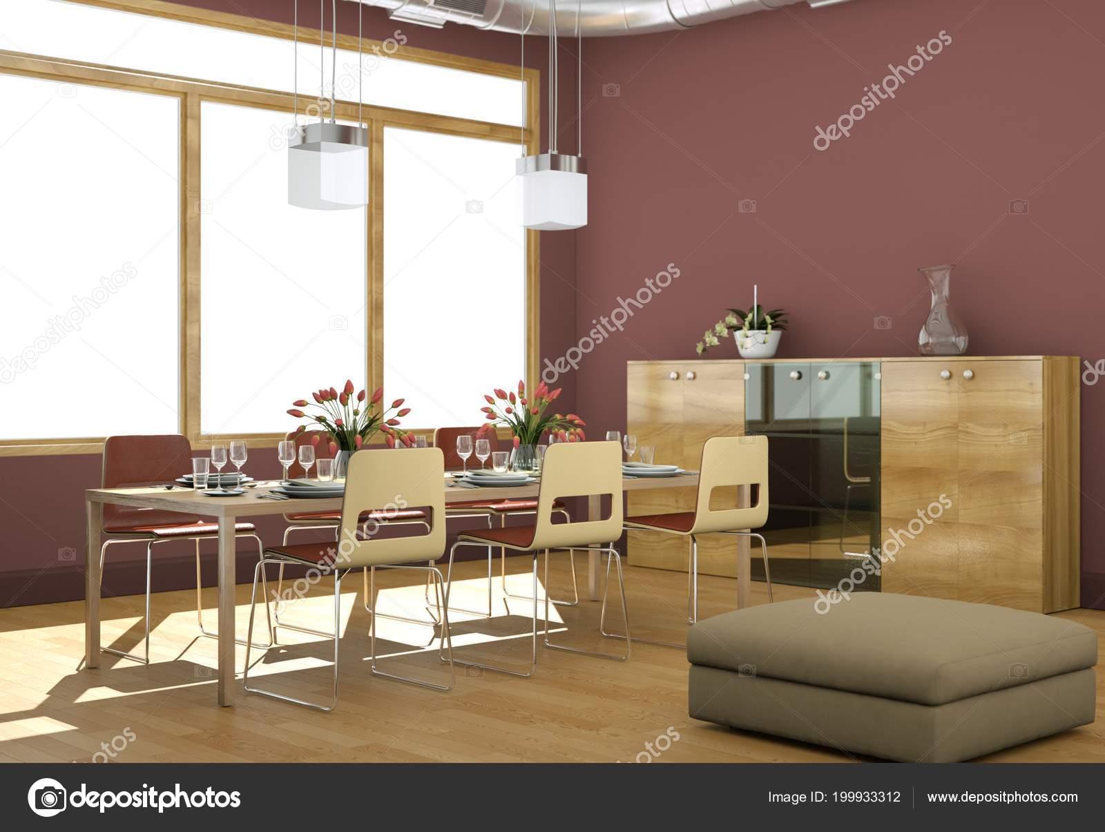 Interieur van eetkamer modern loft illustratie u stockfoto