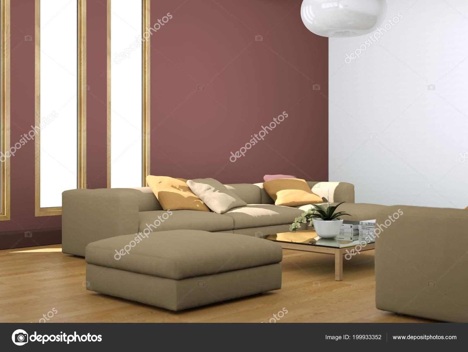 Design moderno luminoso soggiorno con divani e pareti rosse u foto