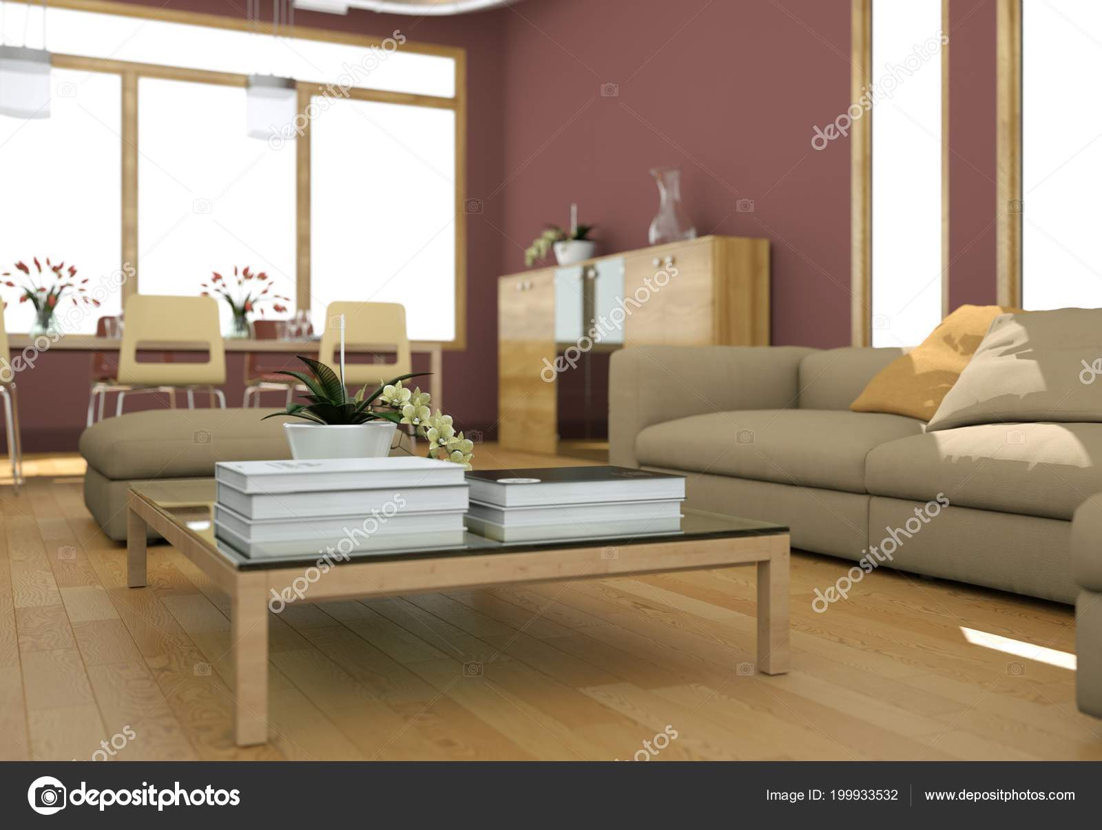 Design moderno luminoso soggiorno con divani e pareti rosse — Foto ...