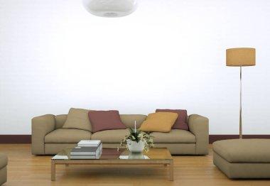"""Картина, постер, плакат, фотообои """"современный светлый дизайн интерьера гостиной с диваном зеркало раме зеркала настенное круглые напольное"""", артикул 199933422"""
