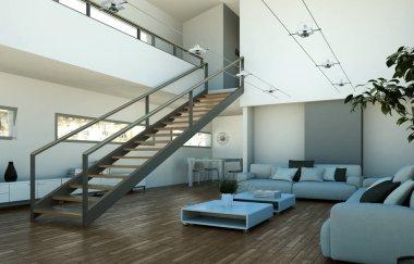 Modern bright loft interior design with stairway to second floor 3d Illustration stock vector