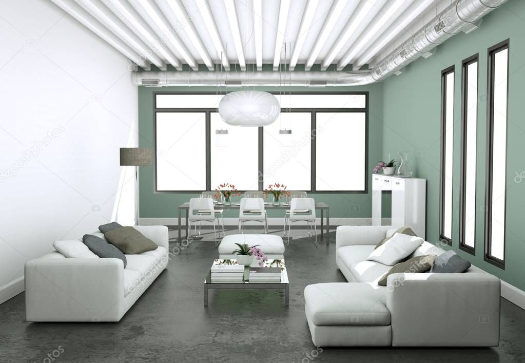Modern bright living room interior design with sofas and grey walls