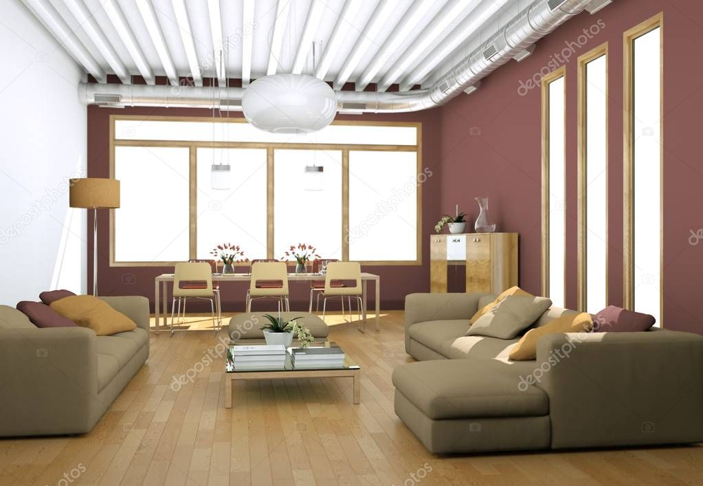 Modern bright living room interior design with sofas and red walls