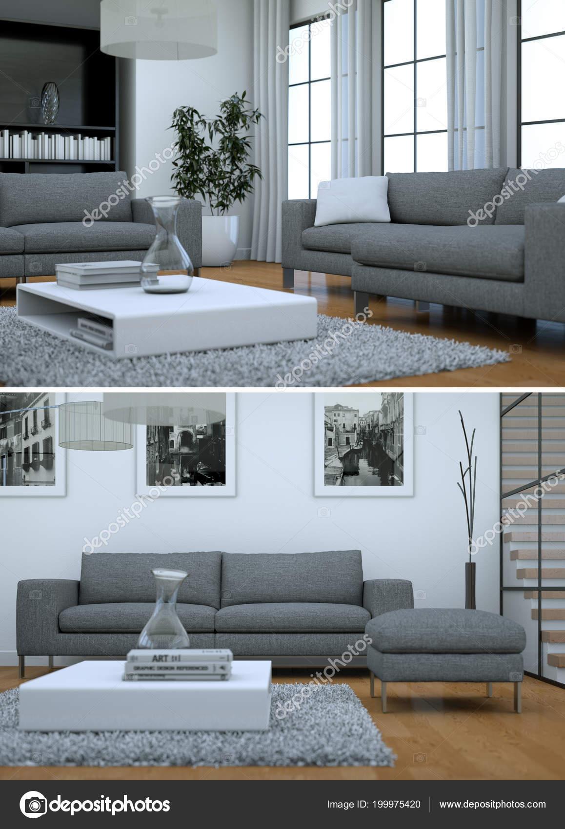 Divani Moderni Grigi.Due Viste Di Interni Moderni Loft Di Design Con Divani Grigi