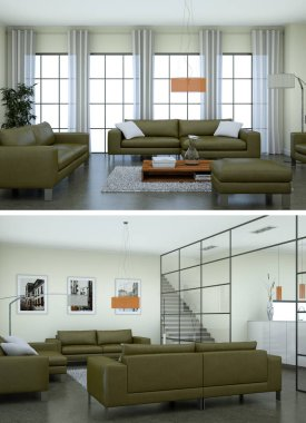 Two views of modern interior loft design with green sofas