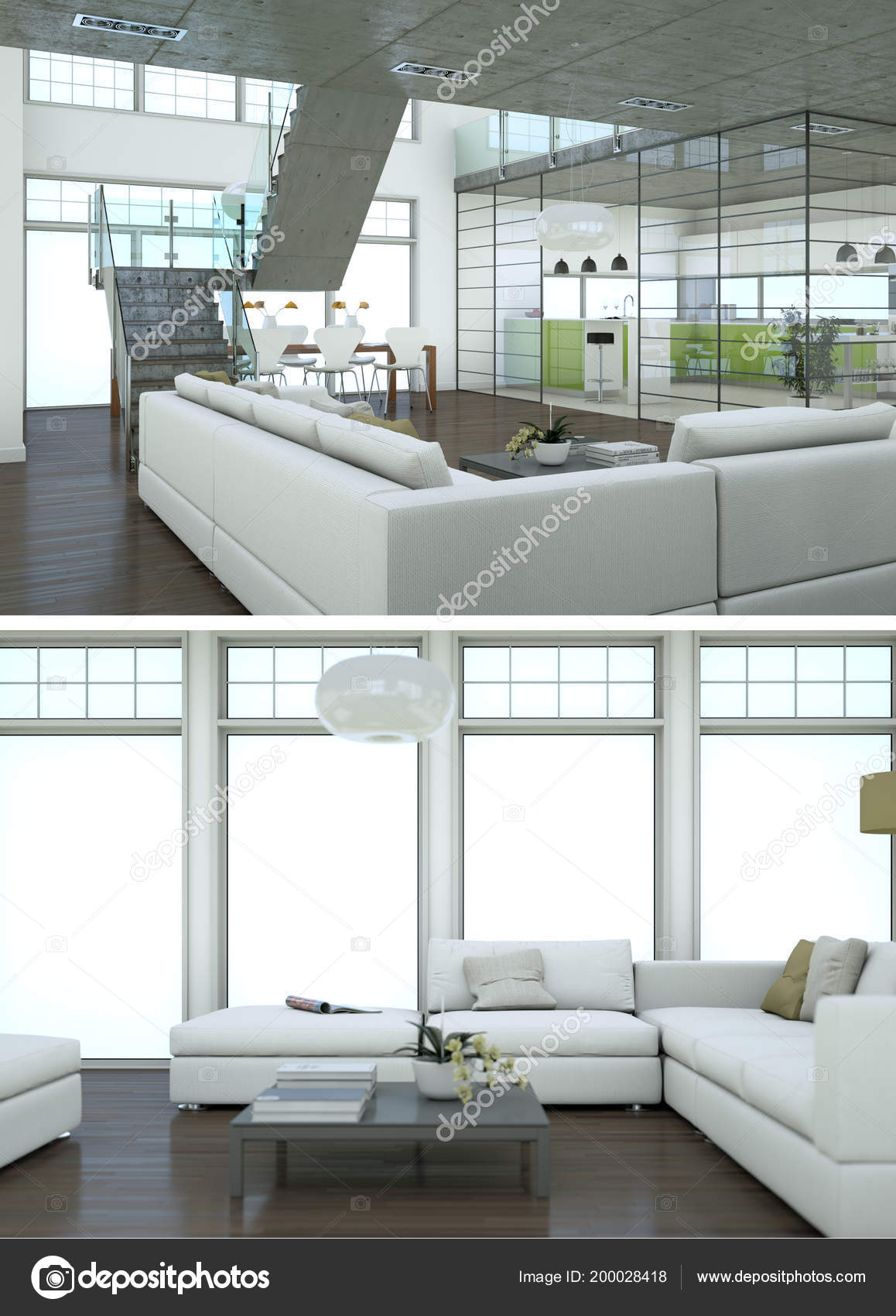 Two Views Of Modern Interior Loft Design With Green Sofas U2014 Stock Photo