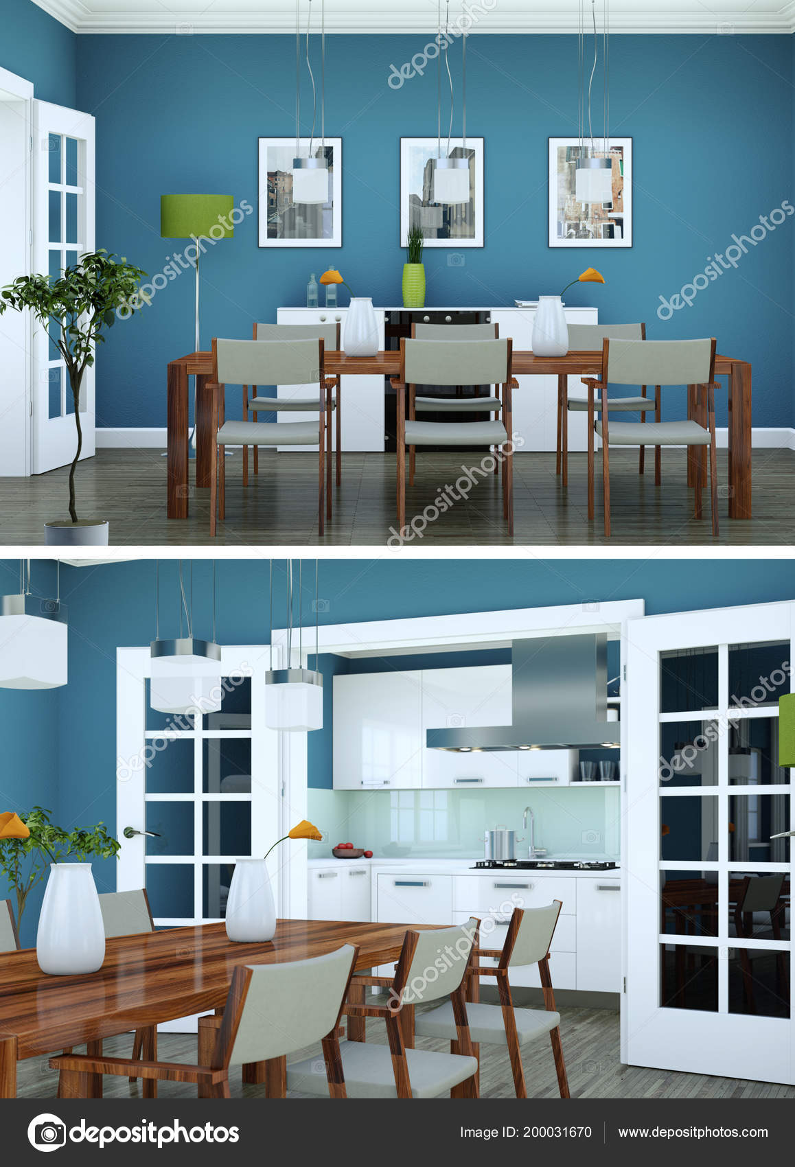 Two views of modern interior loft design with green sofas — Stock ...