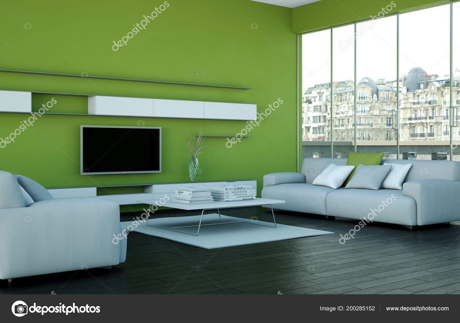 Soggiorno di design moderno verde u foto stock virtua