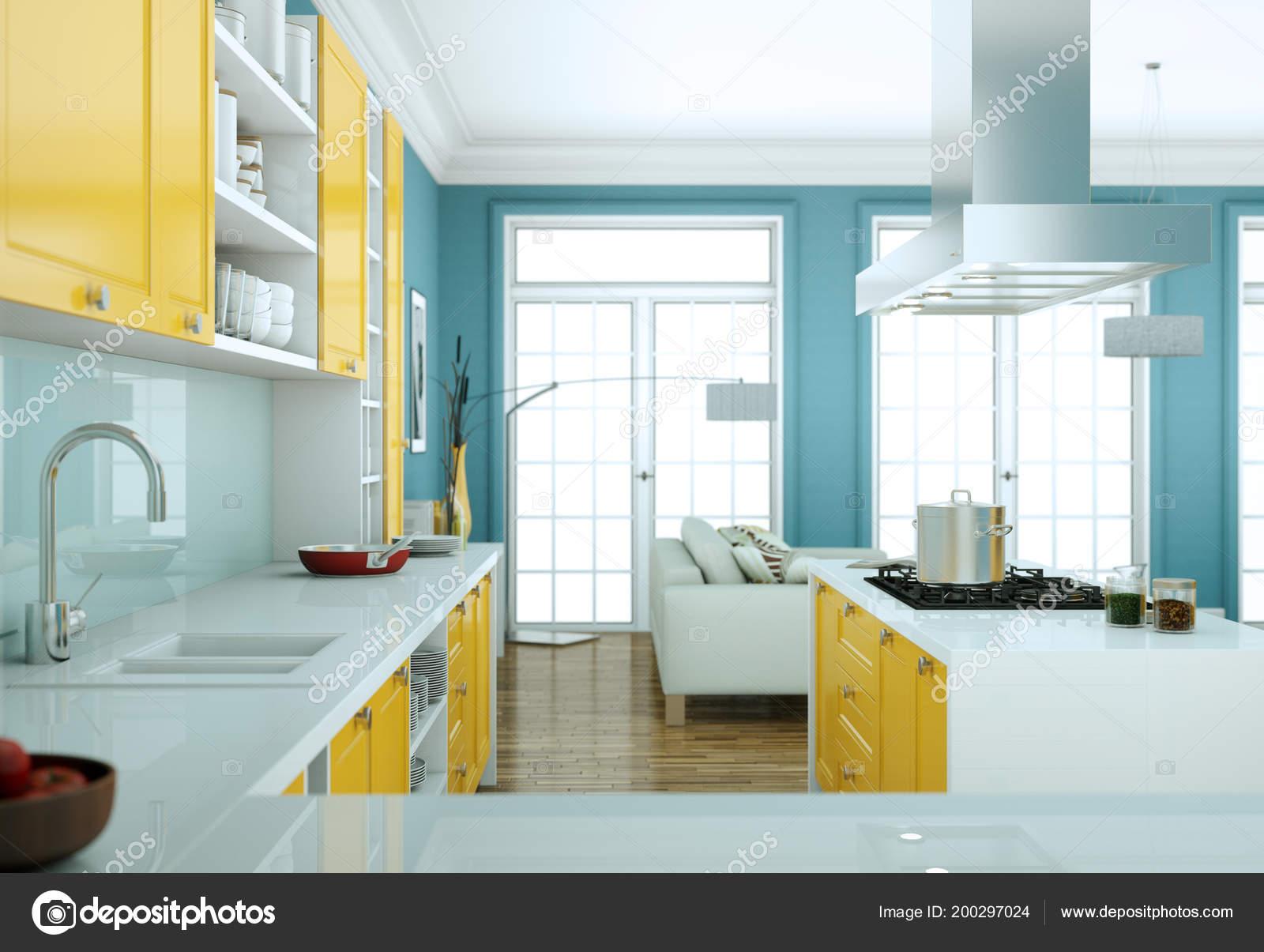 Modern Yellow Kitchen Interior Design Illustration Stock Photo C Virtua73 200297024