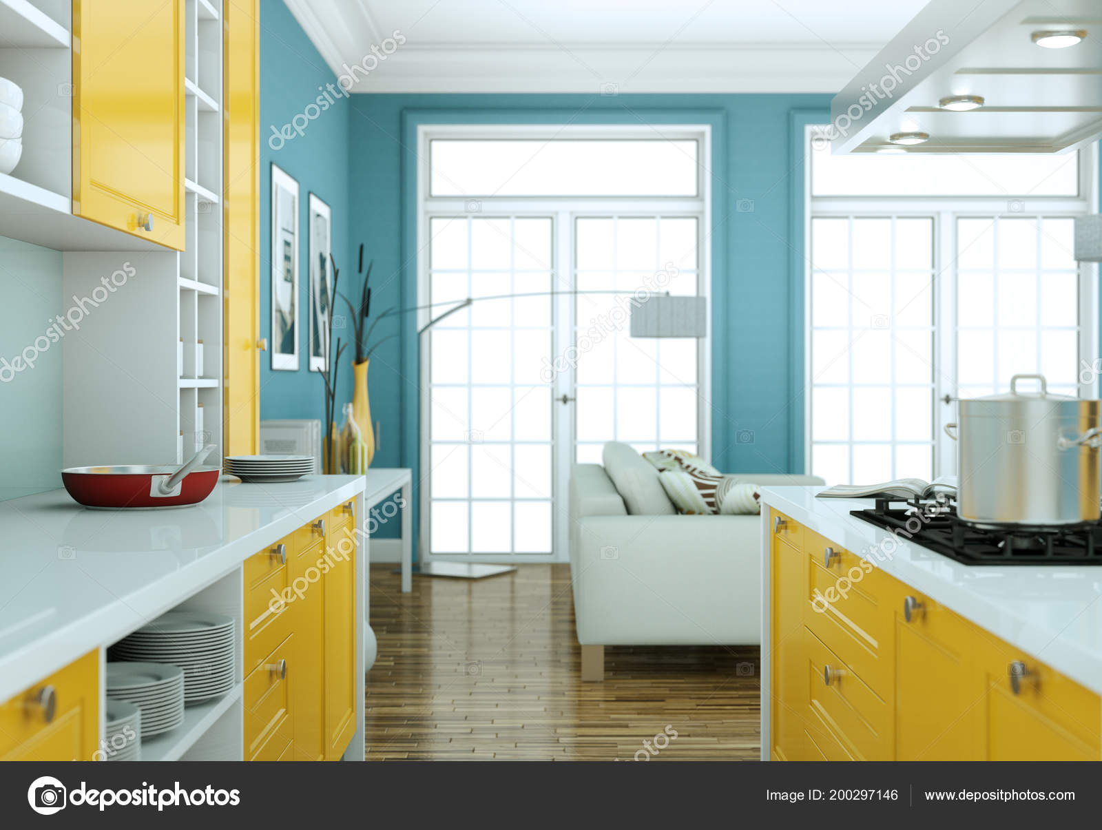 Moderne Gelbe Küche Interieur Design-Darstellung — Stockfoto ...