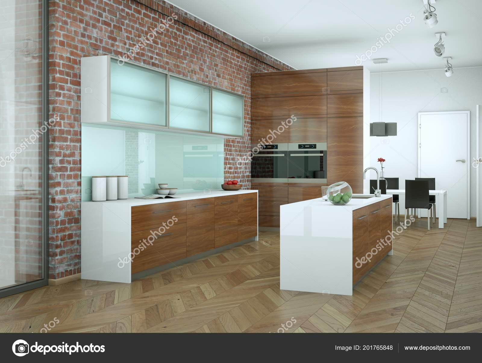 Helle moderne Küche in einem Raum mit Steinmauer — Stockfoto ...
