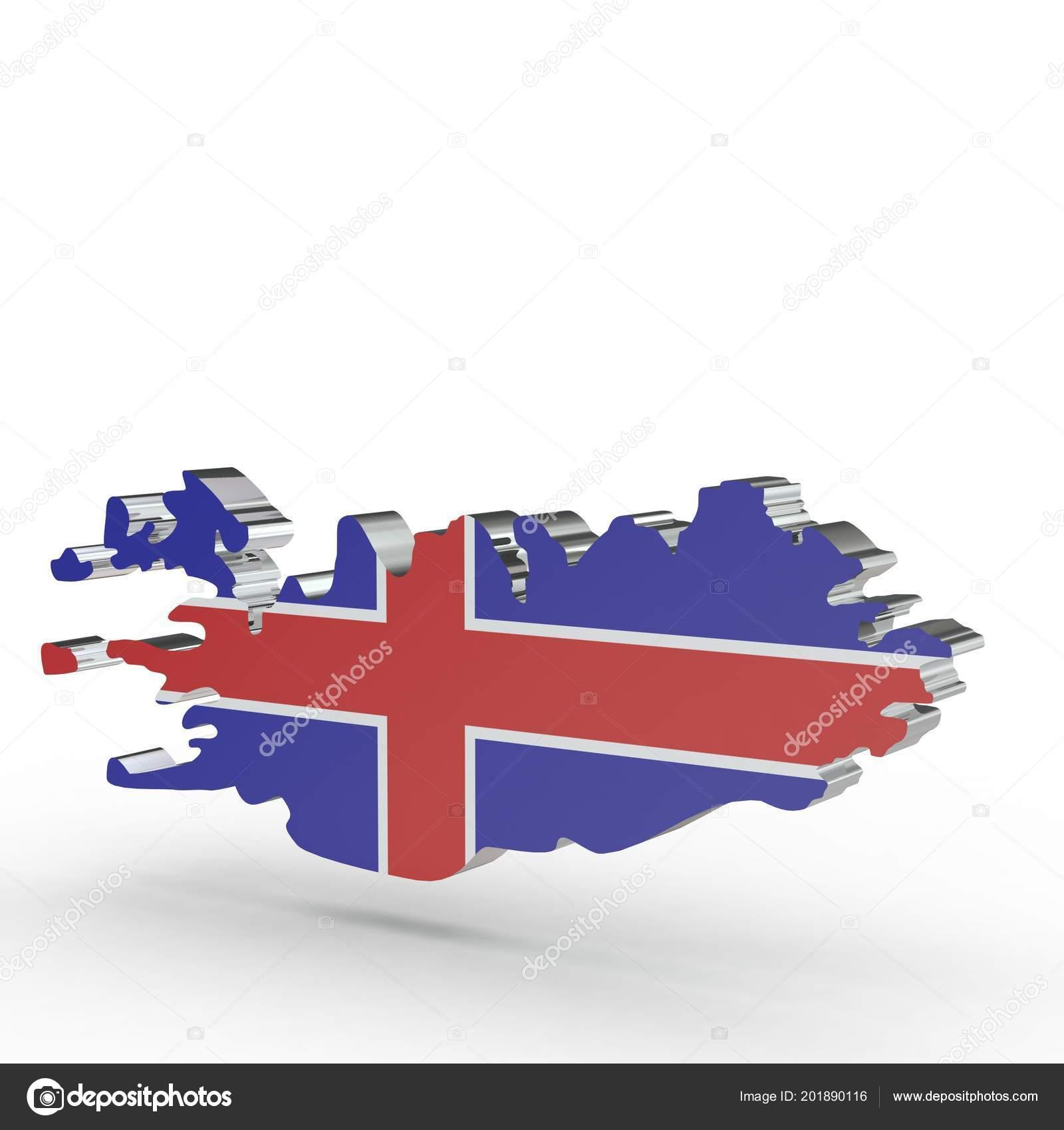 Europa 3d Kaart Van Ijsland Geisoleerd Op Witte Achtergrond