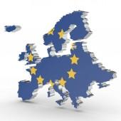 Evropa 3d mapa izolovaných na bílém pozadí