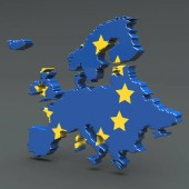 Europe 3D map isolated on dark background