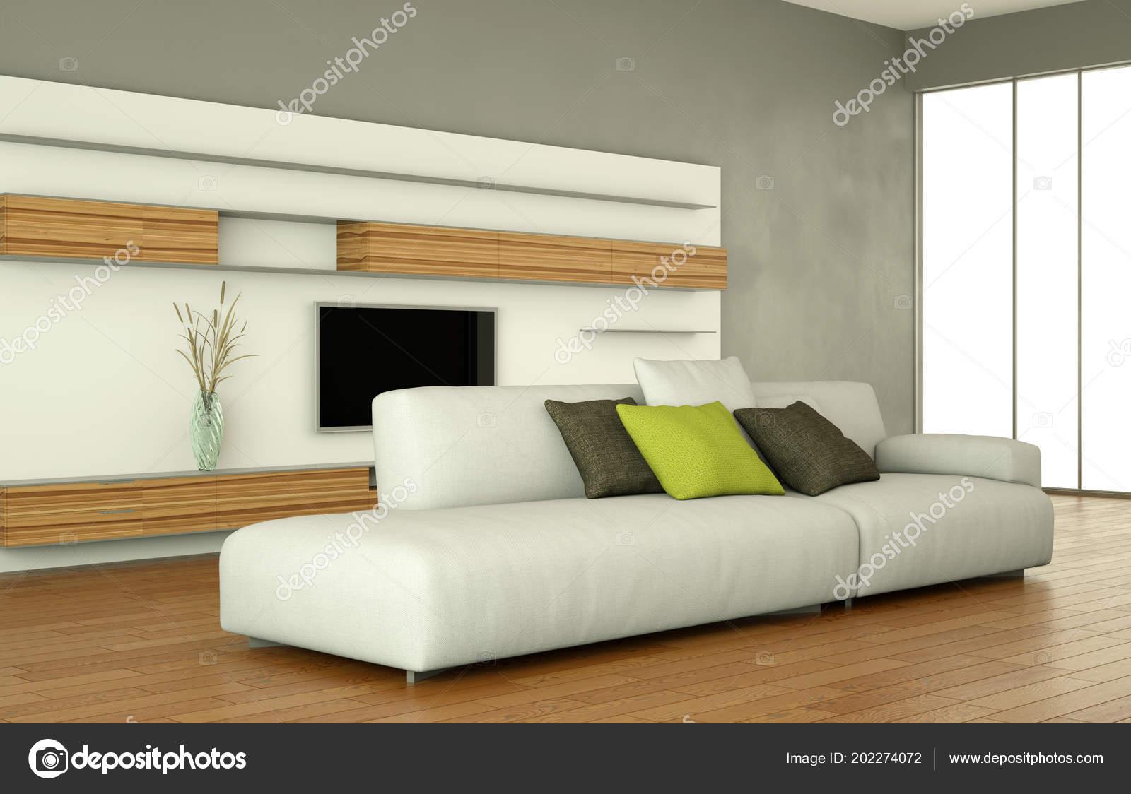 diseño interior moderno salón comedor con televisión y sofá blanco ...