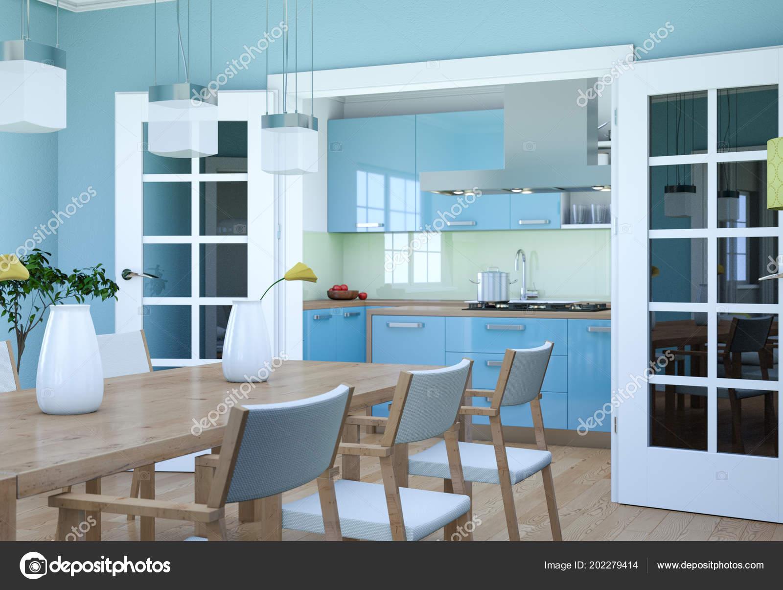 Interieur van eetkamer modern appartement illustratie u stockfoto