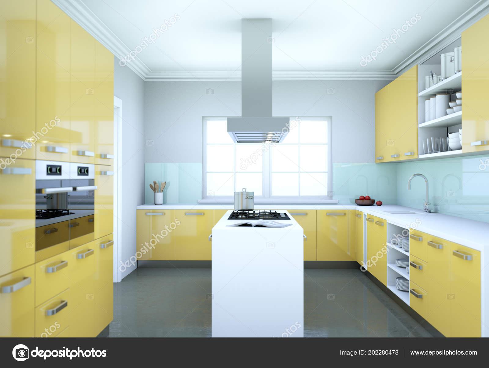 Yellow Modern Kitchen Interior Design Illustration Stock Photo