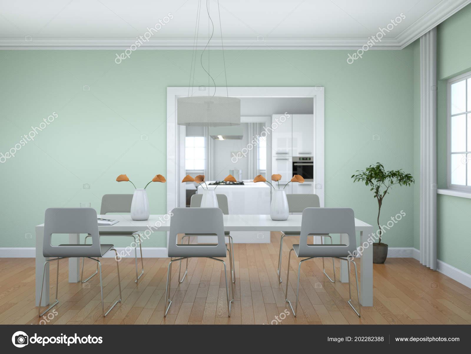 Charmant Salle à Manger Design Du0027intérieur En Appartement Moderne Illustration 3d U2014  Image De ...