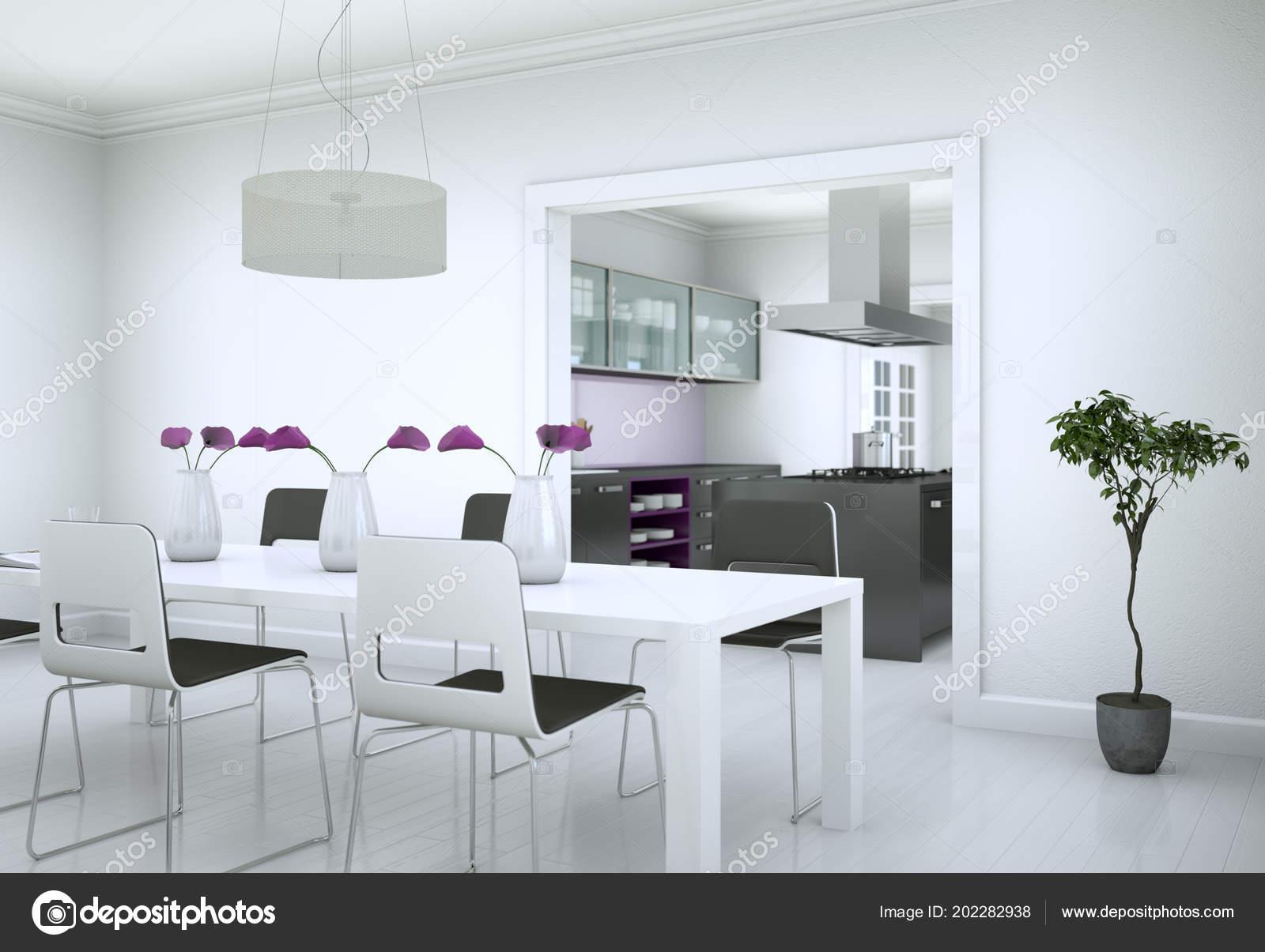 Captivant Salle à Manger Design Du0027intérieur En Appartement Moderne Illustration 3d U2014  Image De Virtua73