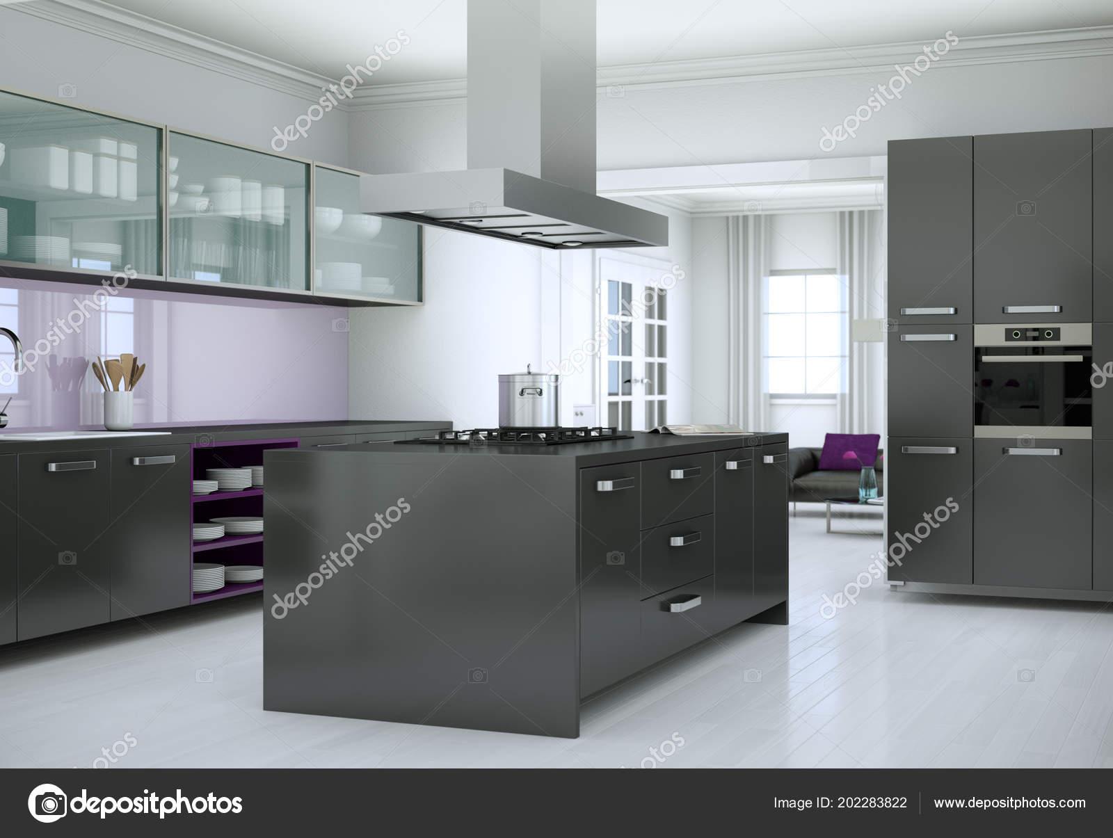 Cucina Moderna Nera.Illustrazione Di Interior Design Cucina Moderna Nera Foto