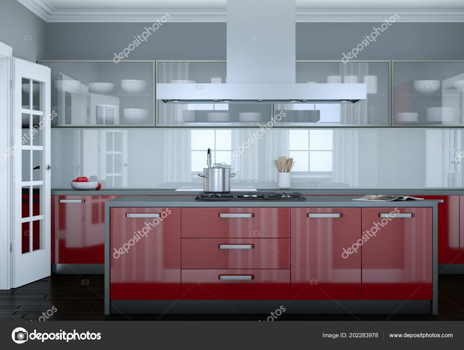 Illustrazione di interior design cucina moderna rossa — Foto ...
