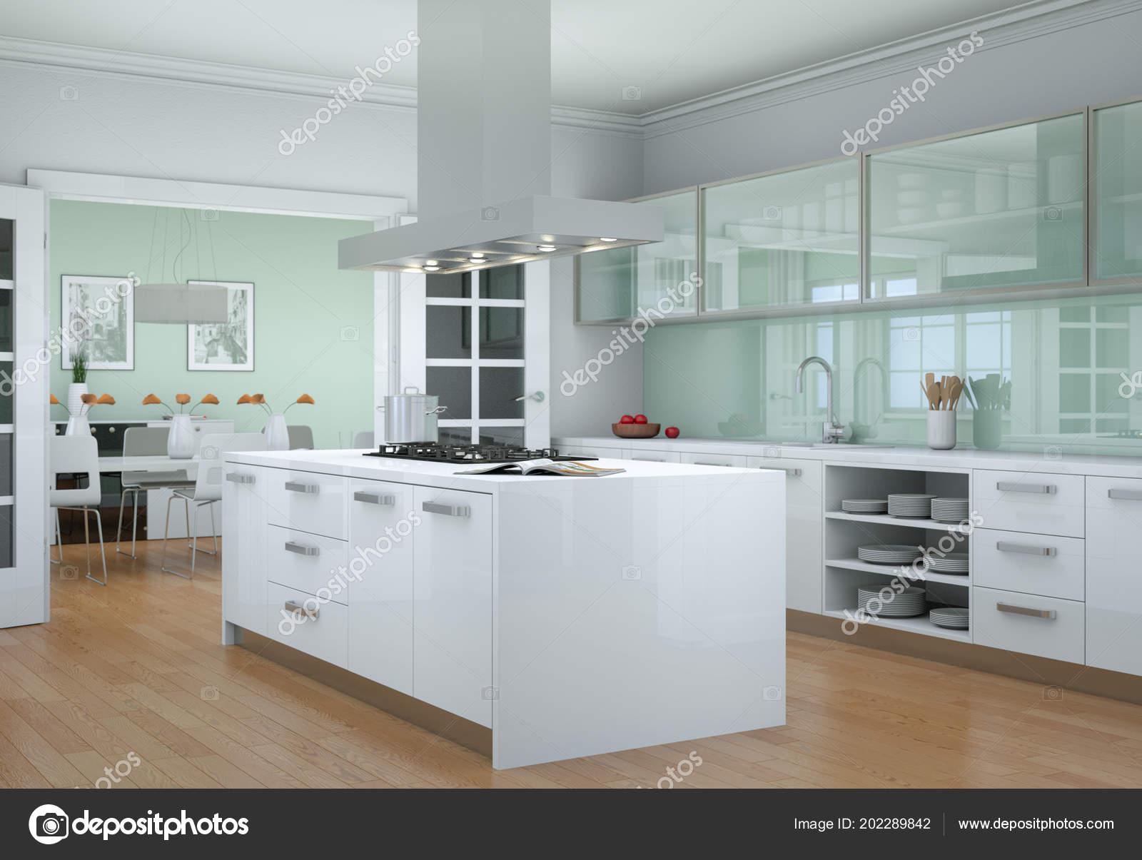 Illustrazione di interior design cucina moderna bianca ...