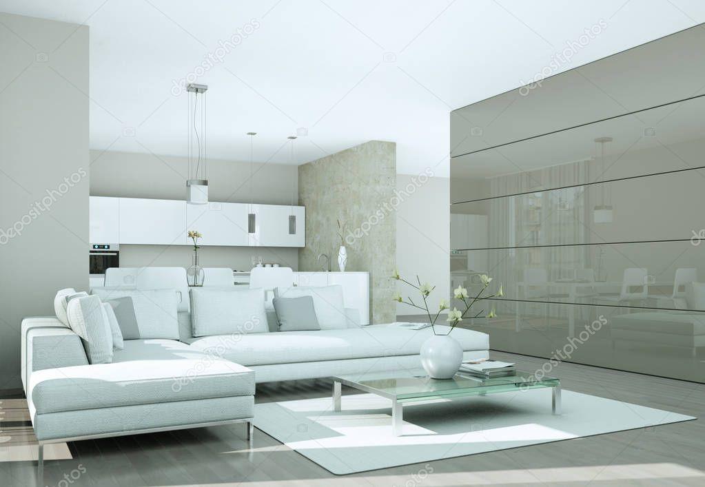 Modern bright flat interior design with sofas