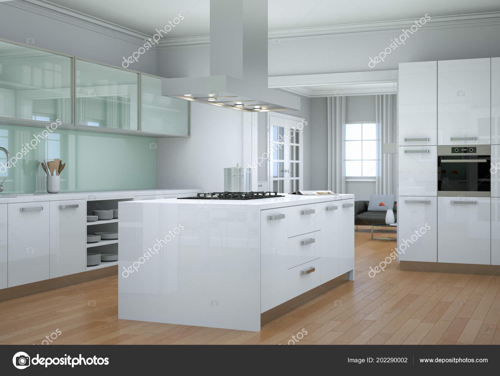 Illustration de design d\'intérieur de cuisine moderne blanche ...