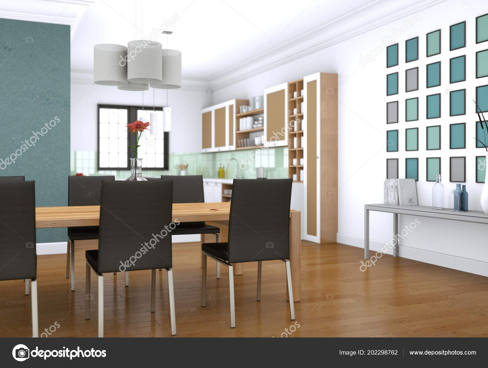 Salle à Manger Design Du0027intérieur En Appartement Moderne Illustration 3d U2014  Image De ...