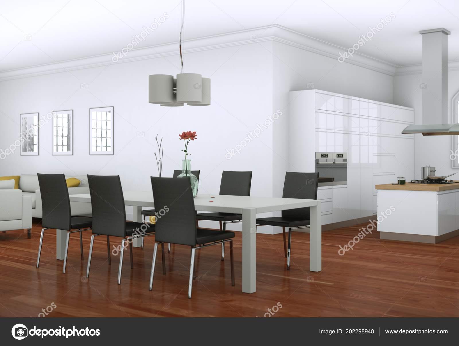 Merveilleux Salle à Manger Design Du0027intérieur En Appartement Moderne Illustration 3d U2014  Image De ...