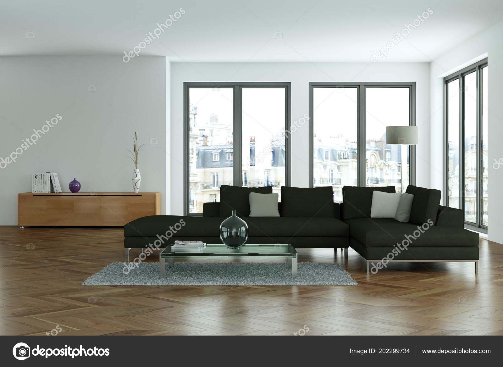Moderne wohnzimmer interieurdesign mit betonmauer u stockfoto