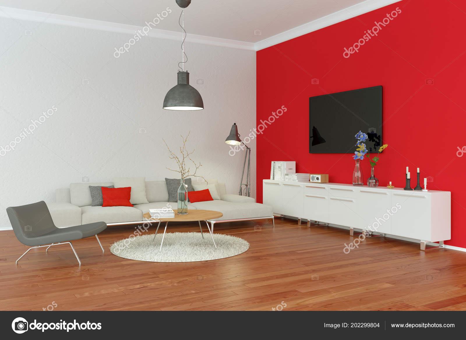 Parete Soggiorno Rossa.Salone Moderno Interior Design Con La Parete Rossa Foto