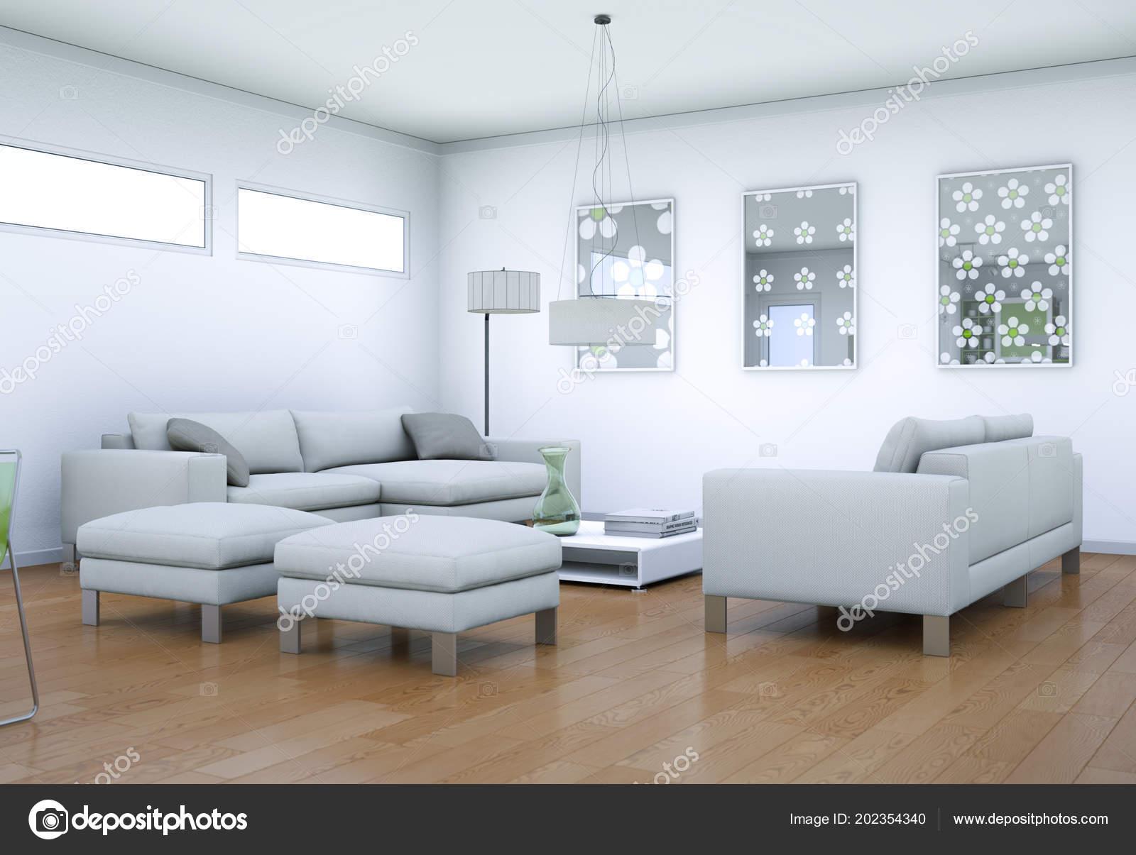 Design intérieur moderne salon blanc — Photographie virtua73 ...
