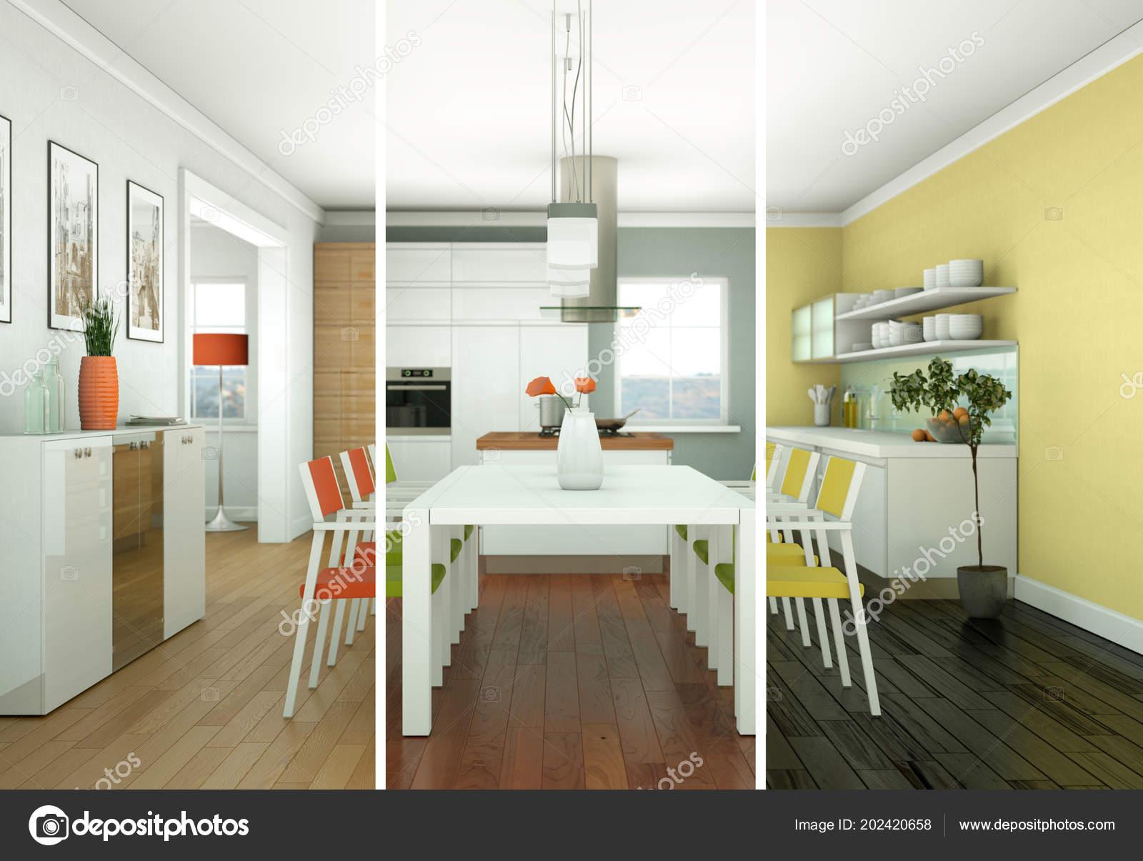 Variaciones de color dividido comedor de diseño de ...