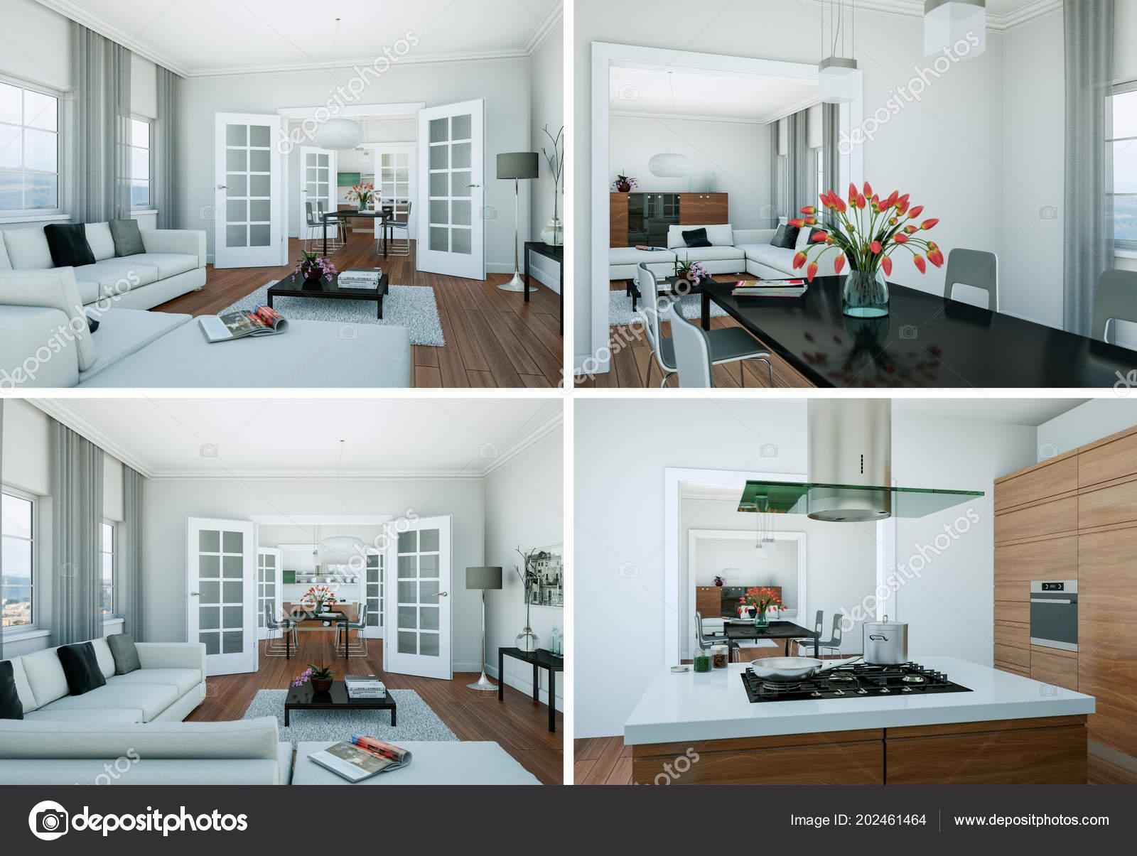 Vier ansichten des modernen interieurs loft design u stockfoto