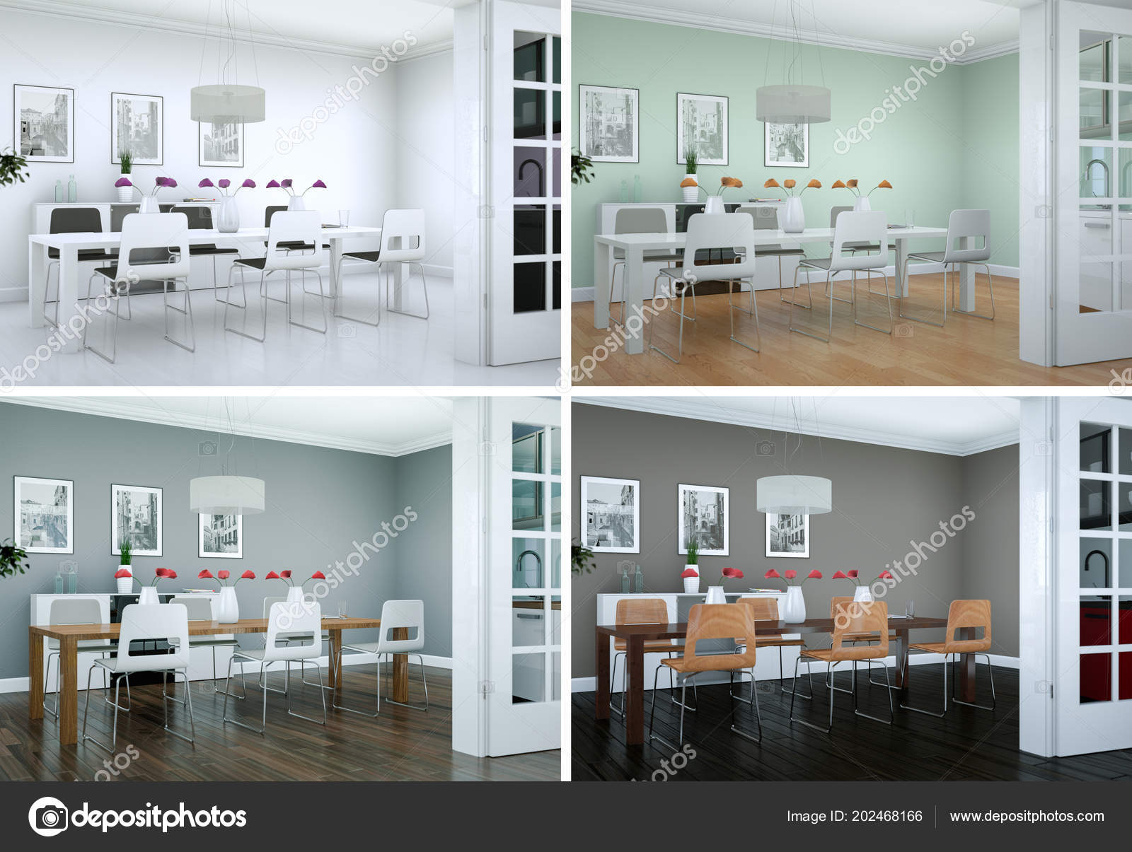 Cuatro variaciones de color de diseño de interiores sala ...