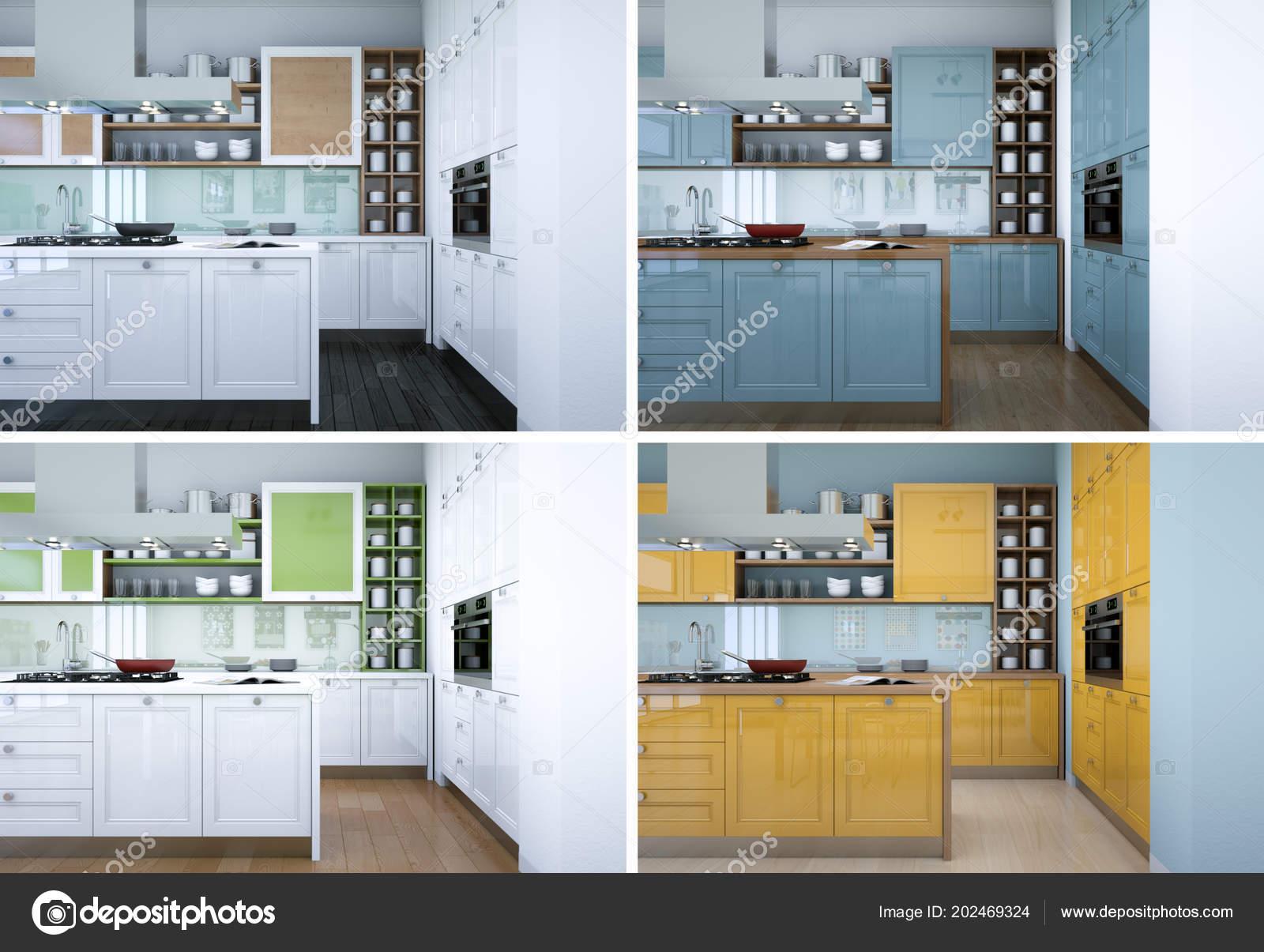 quattro varianti di colore della cucina moderna con un bel design ...