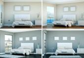 Vier Ansichten der modernen Zimmer mit modernem Dekor