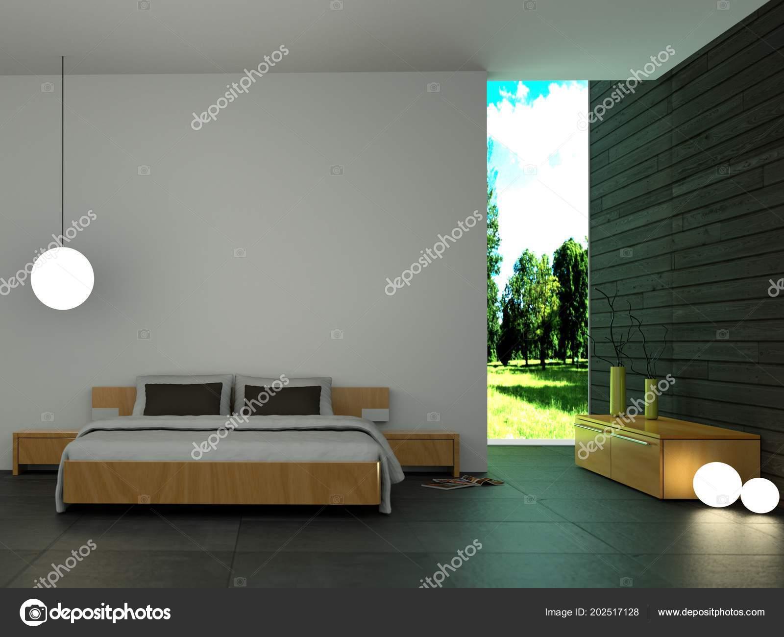 Moderne Schlafzimmer Mit Holzwand Und Modernem Dekor U2014 Stockfoto