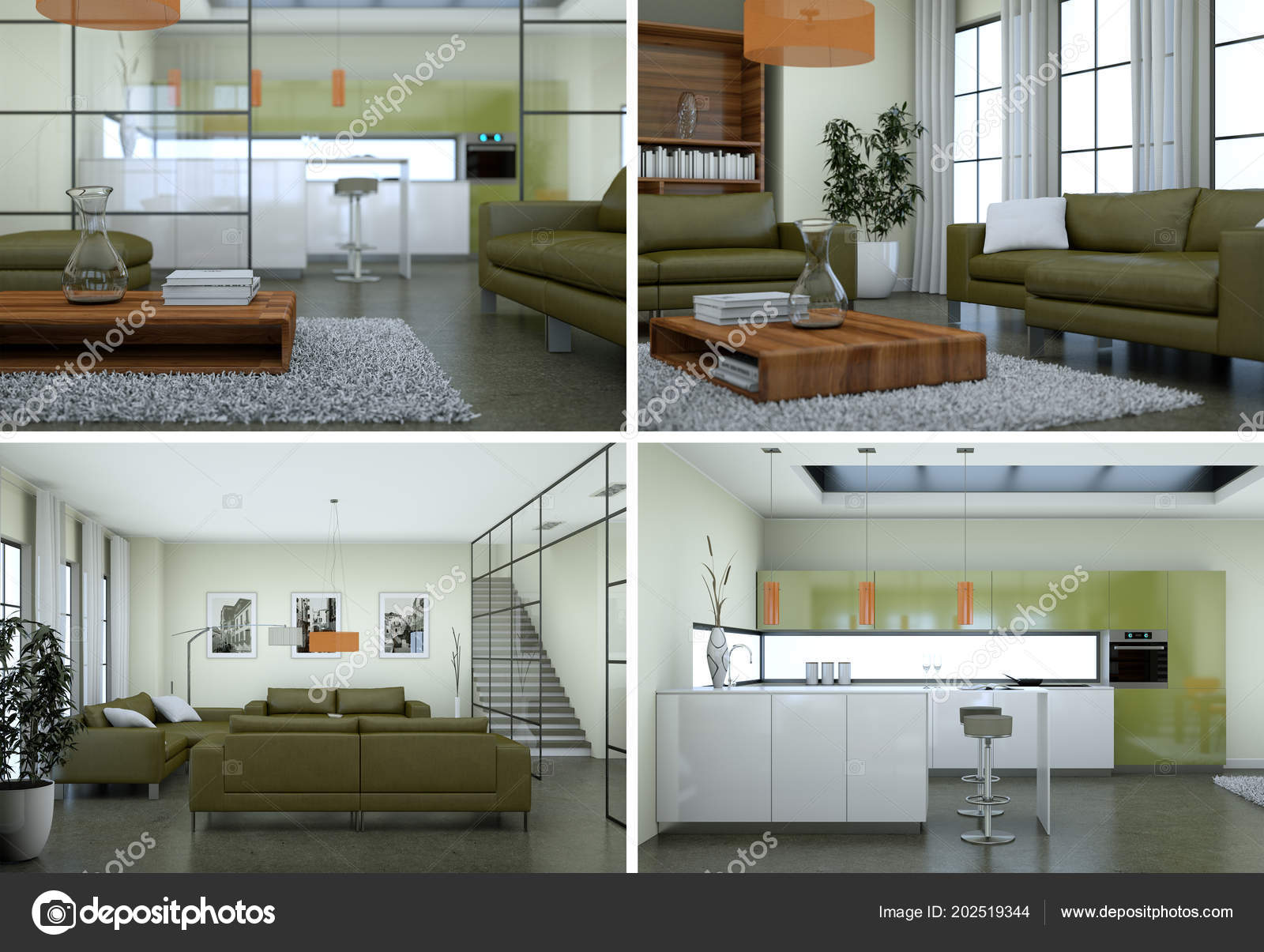 Four views of modern interior loft design u stockfoto virtua
