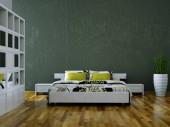 Fotografie modernes Schlafzimmer mit Betonwand und modernem Dekor