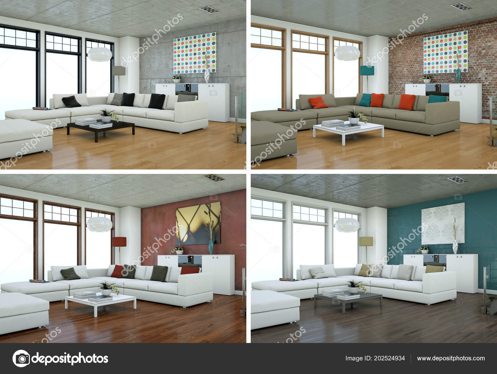 Four color variations of modern interior loft design u stockfoto