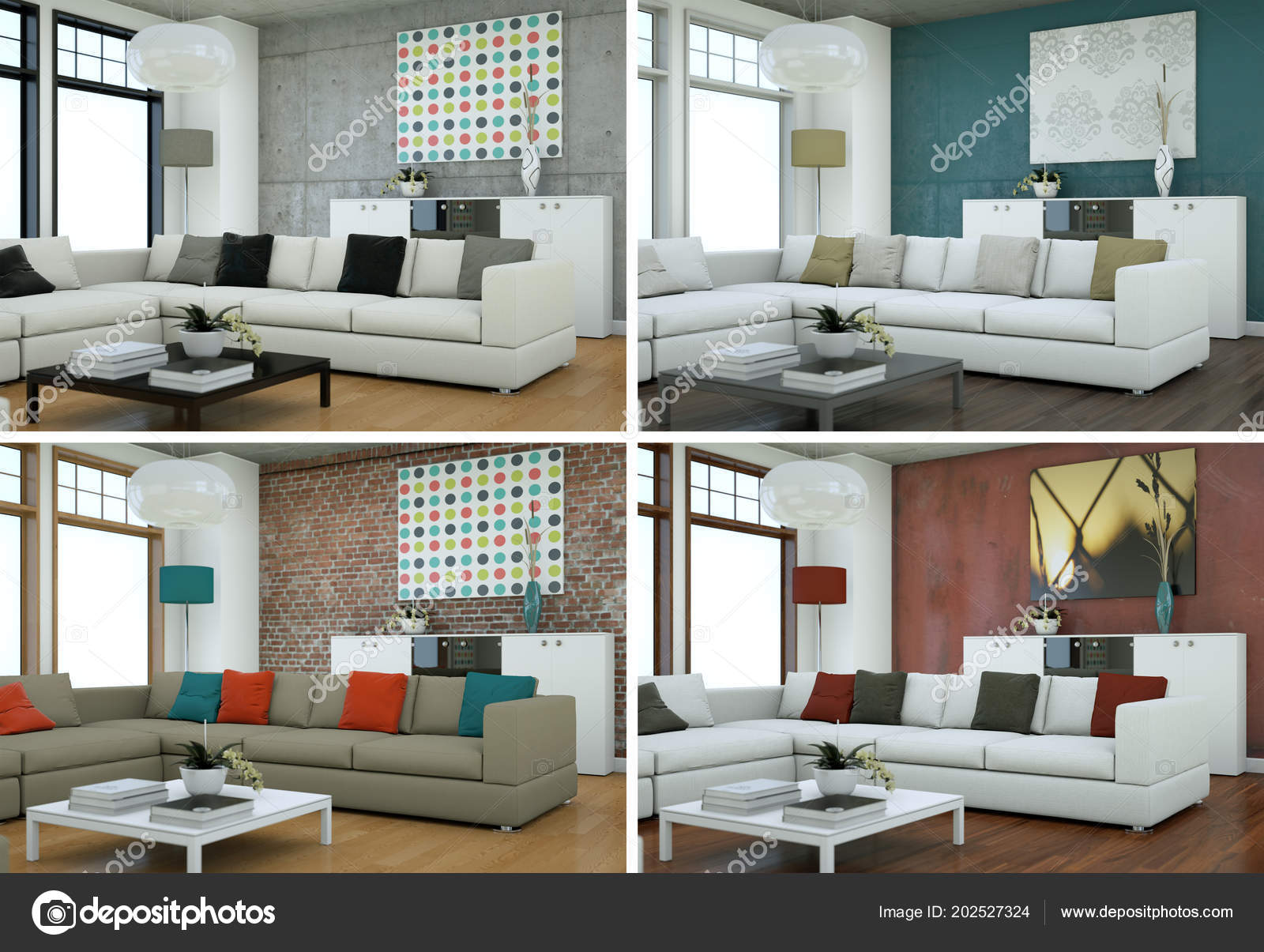 Four color variations of modern interior loft design u stockfoto