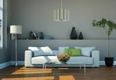 Design interiéru moderní světlý pokoj s bílou pohovkou