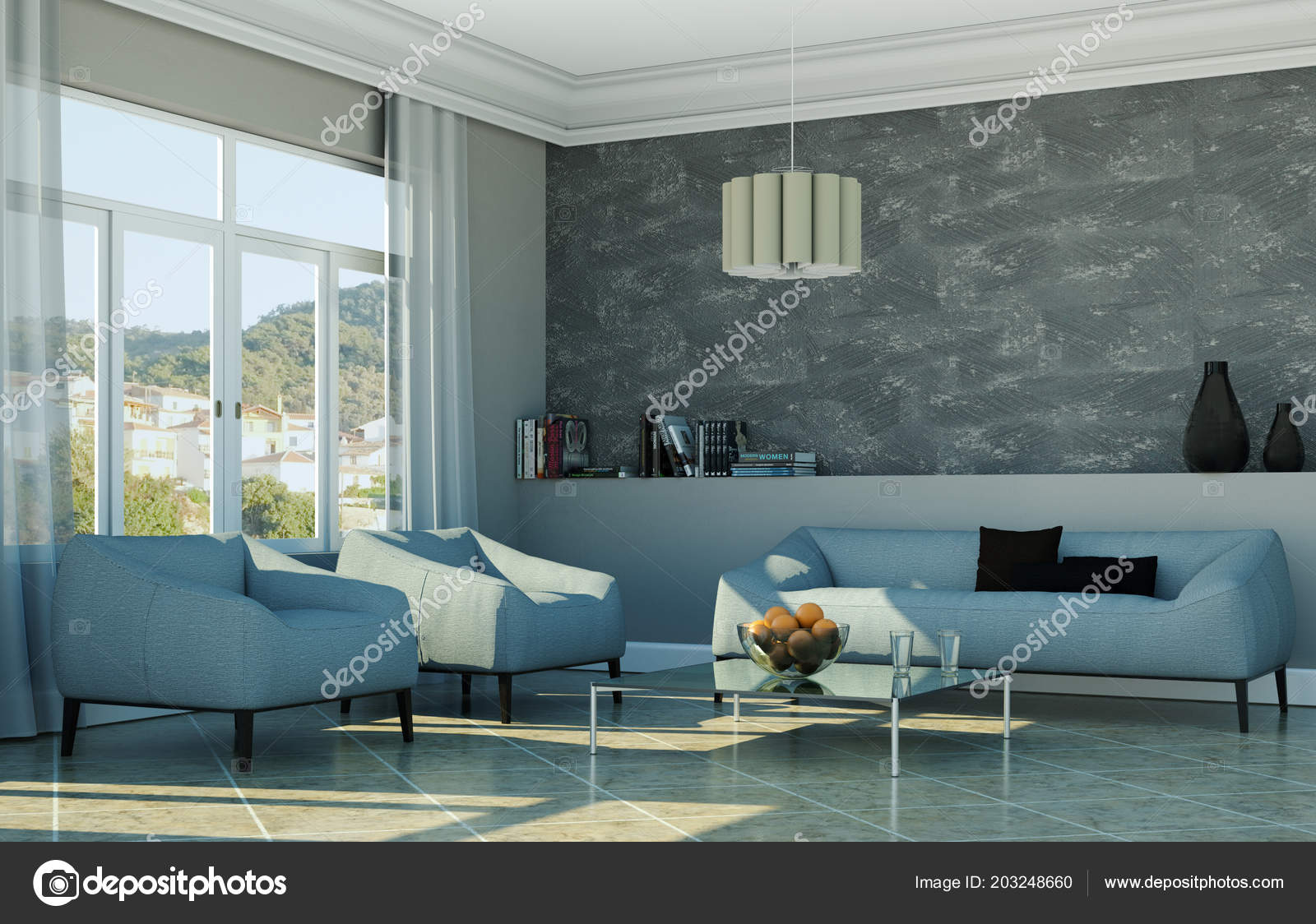 Bright Room With Grey Sofa In Front Of A Window Stock Photo